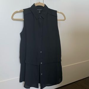 Black sleeveless two layer blouse